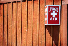 First Aid. Kit mounted on a fence Stock Photography