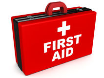 First aid. Box, medical attention and instant medical relief concept Stock Photo