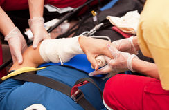 First aid. Treatment of hand injury. First aid training Royalty Free Stock Images