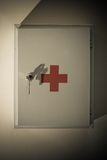First aid. Kit on wall Stock Photo