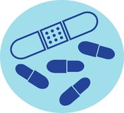 First Aid. Objects in simple graphic style including drug capsules and plaster Stock Photos