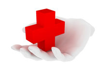 First aid. Red cross symbol in hand Royalty Free Stock Images