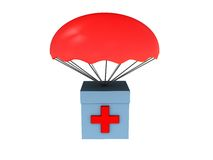 First aid. 3d illustration of first aid box dropped with parachute Stock Image