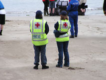 First Aid. 2 First aiders waiting as a precaution at a local raft race Stock Photo