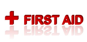 First Aid. 3d text and red cross symbol Royalty Free Stock Photos