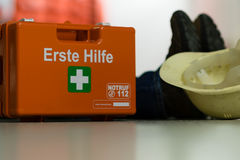 First aid after an accident at work Stock Photo