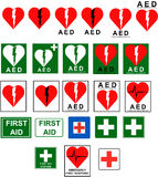 First Aid - AED signs. Collection of the socalled AED signs (Automated External Defibrillator) and some general first aid signs Royalty Free Stock Photo