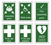 First Aid and Assembly Signs. First aid and assembly sign set  on white background Stock Images