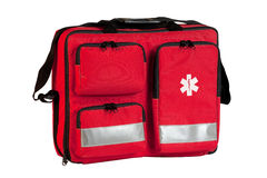 First aid bag. Isolated on white background stock images