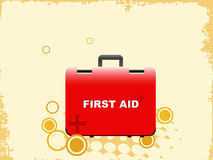 First aid bag. On abstract background vector illustration