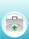 First aid bag. On circular background Royalty Free Stock Photo