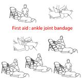 First aid bandage in case of injury of the ankle joint vector il. Lustration outline sketch hand drawn with black lines isolated on white background Stock Images