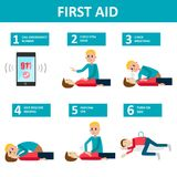 First aid banner. Checking and helping people after accident Royalty Free Stock Photo