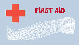 First aid banner with red cross and bandage. Hand drawn illustration Royalty Free Stock Images