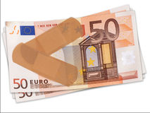 First Aid for battered Euro, financial concept EU. Royalty Free Stock Photos