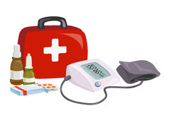 First aid, blood pressure device, medicines. Vector illustration Stock Photo