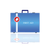 First aid in blue bag illustration. Vector on white Royalty Free Stock Photo