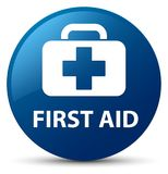 First aid blue round button. First aid isolated on blue round button abstract illustration Stock Photo