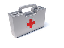 First aid box. 3d render illustration of a first aid box over white Royalty Free Stock Images
