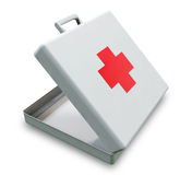 First Aid Box. A 3D opened First Aid Kit placed on a white background Stock Image