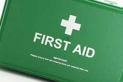 First aid box. Front view of green first aid box Stock Photography