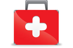 First aid box. Illustration of first aid box on white background Stock Photos