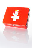 First aid box. First aid box with its reflection Royalty Free Stock Photography