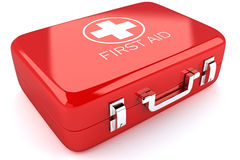 First Aid Box. 3d image of red first aid box against white background Royalty Free Stock Photography