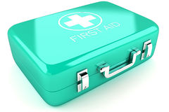 First Aid Box. 3d image of red first aid box against white background Royalty Free Stock Photos