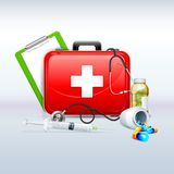 First aid Box. Illustration of first aid box with capsule and stethoscope Royalty Free Stock Photography