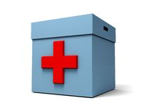 First aid box. 3d illustration of blue first aid box over white background Royalty Free Stock Image