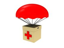 First aid box. 3d illustration of first aid box dropped with parachute Royalty Free Stock Photos
