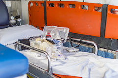 First aid box in ambulance. On display with names of medicines on it Stock Photo