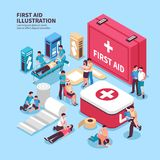 First Aid Box Background. Isometric first aid composition with conceptual images of medicine box and its contents with human characters vector illustration Royalty Free Stock Image