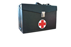 First aid box, black. First aid box on  background with white Royalty Free Stock Photos