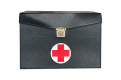 First aid box black leather Stock Photos