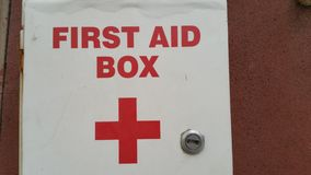 First aid box. Close up of first aid box Stock Photo