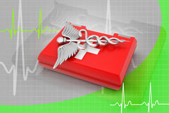 First aid box. In color background Royalty Free Stock Photos