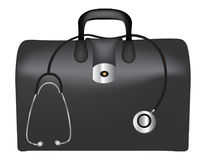 First aid box / doctor`s bag. First aid box and stethoscope isolated on white background Royalty Free Stock Image