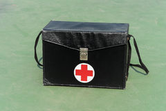 First aid box. On ground Stock Photo