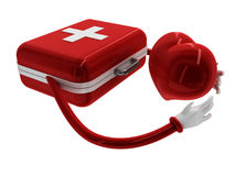 First aid box and hugging heart icon. 3d high quality rendering Royalty Free Stock Image