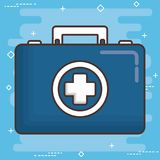 First aid design. First aid box icon over blue background colorful design vector illustration Stock Photo