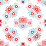 First aid box icon pattern. First aid box seamless pattern.  Royalty Free Stock Photos