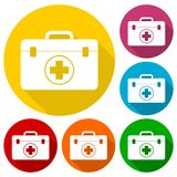 First aid box icons set with long shadow Royalty Free Stock Photos