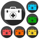 First aid box icons set with long shadow Stock Photography