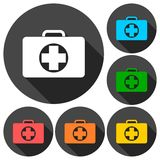 First aid box icons set with long shadow. Vector icon Royalty Free Stock Photos