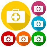 First aid box icons set with long shadow Stock Photos