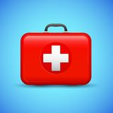 First Aid Box. Illustration of first aid box on medical background Stock Photo