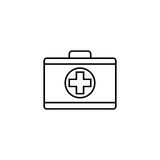 First aid box line icon, medical case and bag. Vector graphics, a linear pattern on a white background, eps 10 Stock Photo