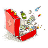 First aid box with medical drugs and pills Royalty Free Stock Photo